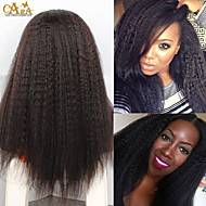 "8""-26"" Brazilian Virgin Hair Kinky Straight Glueless Lace Front Wig Color Natural Black Baby Hair for Black Women"