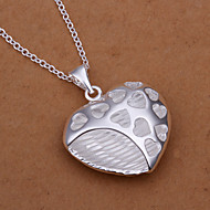 Sweet Heart Pendant Silver Plated Simple Foreign Trade Rolo Silver Pendant Necklace(White)(1Pc)