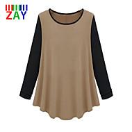 ZAY Women's Autumn New Casual Round  Long Sleeve Loose T-shirt
