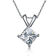 Genuine 925 Pure Silver Princess Cut Pendant 1CT 6*6mm SONA Simulate Diamond Pendant for Women 18inches Necklace Jewelry