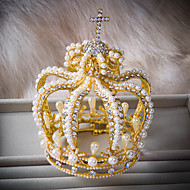 Royal With Crossing Gold Color With White Pearl And Rhinestone Round Style Wedding Luxury Tiara A1025S