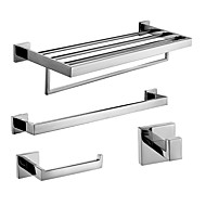 Polish Stainless Steel Bath Accessories Set with Single Towel Bar Towel Ring Towel Shelf with Bar and Robe Hook