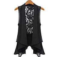 Women's Casual/Daily Simple Summer Blouse,Solid Sleeveless White / Black Thin
