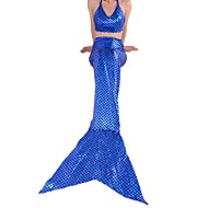 Cosplay Costumes Party Costume Mermaid Tail Fairytale Festival/Holiday Halloween Costumes Blue Solid Bra Tail Halloween Children's Day Kid