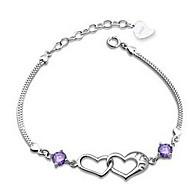 Popular Korean Heart Pure Silver Connected Amethyst Bracelets