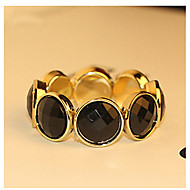 The Luxurious And Elegant Single- Layer Acrylic Pearl Round Black Stones Inlaid Gold Edge Bangle