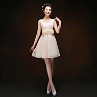 Knee-length Chiffon Bridesmaid Dress - Champagne Sheath/Column Straps