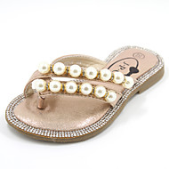 Girl's Summer Flip Flops / Sandals Leatherette Casual Flat Heel Pearl Pink / Bone