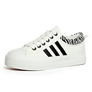Women's Shoes Canvas Flat Heel Round Toe Fashion Sneakers Casual White