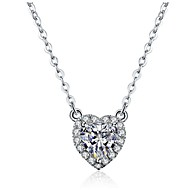 2CT Heart Shape Solitaire Pendant SONA Simulate Diamond 925 Silver Necklace Wedding Women Pendant 18K White Gold Plated