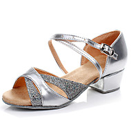 Non Customizable Kids' Dance Shoes Latin/Salsa/Flamenco/Samba Leatherette/Synthetic Low Heel Silver/Gold