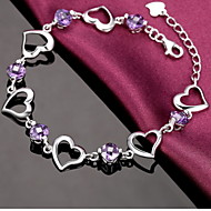 Women's Heart-Shaped Silver Chain With Rhinestone Bracelet