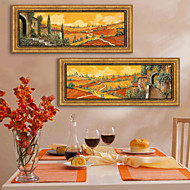 E-HOME® Framed Canvas Art, Rural Scenery Framed Canvas Print Set of 2