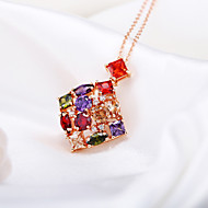 Gorgeous Women's Alloy with Colorful Crystals Wedding Jewelry Cubic Zirconia Necklace (with Gift Box)