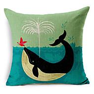 Стильный мультфильм китов с рисунком хлопок / лен декоративная подушка крышка