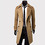 Men's Fashion Slim Long Double  Breasted Wool Coat