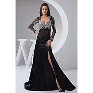 Formal Evening Dress - Black Petite A-line Square Floor-length Satin / Tulle