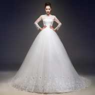 A-line Wedding Dress - Ivory Court Train High Neck Lace / Tulle