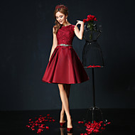 thuiskomst cocktail party dress - bordeaux / jade baljurk juweel korte / mini kant / charmeuse