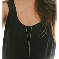 Women's Fashion Metal Simple Circle Pendant Long Necklace