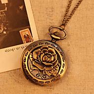 Chain Rose Flower Case Bronze Color Fashion Vintage Antique Pocket Watch Quartz Analog Display Pendant Watch Clock Cool Watches Unique Watches