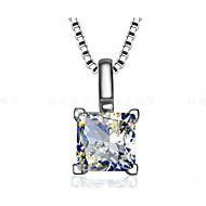 1CT Princess Pendant Slide 6*6mm SONA Simulate Diamond for Girl Sterling Silver Necklace Pendant 18K White Gold Plated