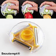 1pcs couteau multi-fonctions nouveauté rotatif fruit légume éplucheur trancheuse déchiqueteuse 3in1 (couleur aléatoire)