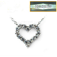 Solitaire Pendant SONA Simulate Diamond Solid 925 Silver Necklace Engagement Female Heart Pendant Quality Platinum Plate