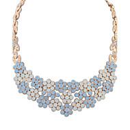Women's European Fashion Elegant Floral Flower Resin Necklace With Rhinestone