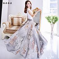 Women's Floral/Print Blue/Green/Gray Skirts , Vintage/Beach/Casual/Print/Cute/Party/Maxi Maxi Flower