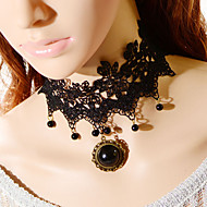Vintage Big Gem Small Bead Necklace