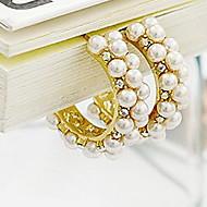 Korea Retro Palace Pearl Diamond Elegance Hoop Earrings