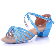 Non Customizable Kids' Dance Shoes Latin/Salsa/Flamenco/Samba Satin/Synthetic Low Heel Blue/Multi-color