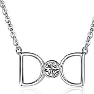 Women's D-Letter Silver/Titanium Necklace With Rhinestone