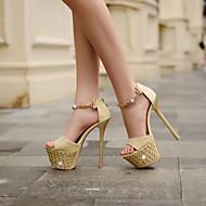 Women's Leather Stiletto Heel Heels/Peep Toe/Platform Sandals/Pumps/Heels Wedding/Party & Evening/Casual Black/Gold