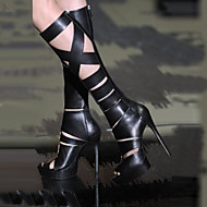 Women's Shoes Open Toe Stiletto Heel Knee High Sandals Boots