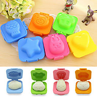 Cute 6Pcs Boiled Egg Sushi Rice Mold Bento Maker Sandwich Cutter Decorating(Random Color)