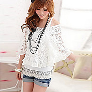 Women's Two Piece Embroidery Puff Sleeve T-Shirt