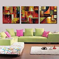 peinture à l'huile abstraite décoration main toile peinte avec étiré encadrée - ensemble de 3