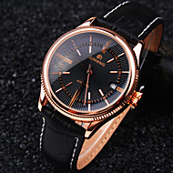 Men's Round Rome Nailed Dial Genuine Leather Band Calendar Waterproof Fashion Mechanical Watch  (Assorted Colors) Wrist Watch Cool Watch Unique Watch