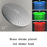 Modern Bathroom 12 Inch Round Brass LED Rain Shower Head Chrome