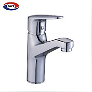 Contemporary Solid Brass Bathroom Sink Faucet- -Chrome Finish