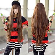 color de moda japonés y coreano cosplay marrón peluca de pelo largo