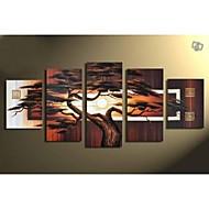 Handgemaltes modernes Landschaftsölgemälde auf Leinwand Wände Kunst Baum Bilder 5pcs / set kein Rahmen