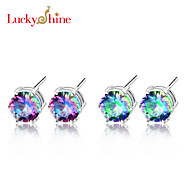 Classic Round Fire Rainbow Mytic Topaz Gem Earring Stud Earrings For Wedding Party Daily Casual 1pair