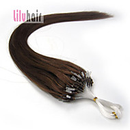"""16 """"-24"""" 100stands loop micro ring kralen remy human hair extensions kleur # 06"""