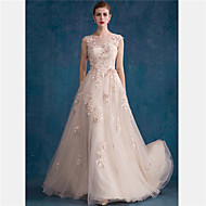 Formal Evening Dress - Pearl Pink A-line/Sheath/Column Jewel Court Train Tulle