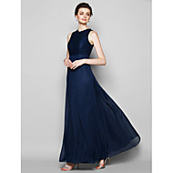 Lanting Floor-length Chiffon / Lace Bridesmaid Dress - Dark Navy Plus Sizes / Petite Sheath/Column Jewel