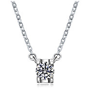 4Prongs 0.5CT Sterling Silver Engagement Pendant for Women SONA Simulate Diamond Pendant 925 Necklace Platinum Filled