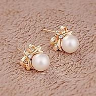 Big Shining Pearl Bow Earrings Fashion Personality